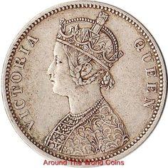1876 British India 1 Rupee Silver Coin