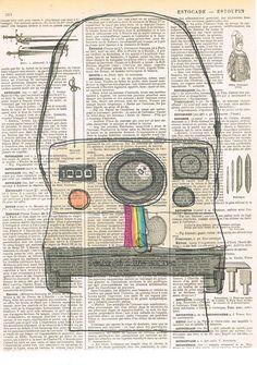Polaroid Camera.Snapshot.Original Instagram.Gift. Retro.Book Page Collage Print.Home Deco,Old School.artist.mom.dad.photographer on Etsy, $8.50
