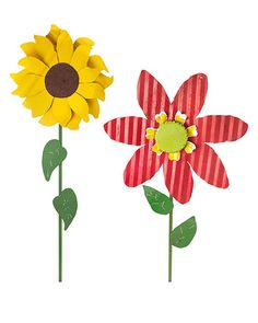 "OVERSIZED TIN FLOWERS - SUNFLOWER & ZINNIA : I could see these in my sister's yard!  If I saw them in my yard, they'd have to be ""Oversized Tin Wilted Flowers.""  I'm where plants go to die.  Even metal ones."