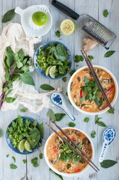 This Thai curry soup is better than most restaurants I've eaten at! The combination of curry paste, coconut milk, lime, and other delicious seasonings makes it taste authentic while the slew of veggies makes it light and healthy.: