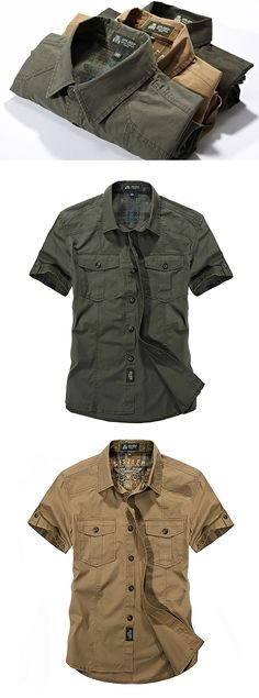 Outdoor Sport  Shirts for Men: Cotton Breathable / Multi Pockets / Cargo Short Sleeve