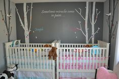 Boy/Girl twin nursery. Pottery Barn cribs that can be coverted into toddler beds, nothing hangs from the walls except cameras, thrift store re-painted dresser, same with glider and chair. Relatively low budget!
