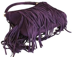3b5c0f1c5e78 Alexis Italian Fringed Black Suede Leather Hobo Satchel Bag - £49.99