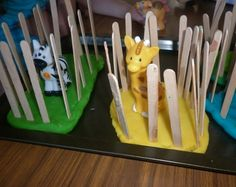 Make your own zoo using play-dough and craft sticks. have to figure out how to make a rendition of animals inside. We could create our own zoo for summer camp! Preschool Zoo Theme, Preschool Crafts, Crafts For Kids, Preschool Circus, Animal Activities, Toddler Activities, Preschool Activities, Dear Zoo Activities, Zoo Animal Crafts