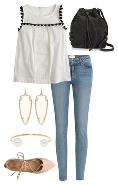 """""""bucket bag"""" by mcgeemaddie ❤ liked on Polyvore featuring Paige Denim, J.Crew, Kendra Scott, BaubleBar, Rebecca Minkoff, women's clothing, women, female, woman and misses"""