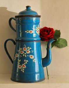 Antique Vintage Large French Enamel Coffee Pot  by uniqueenamel