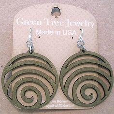 WAVE laser-cut wood earrings Green Tree Jewelry modern-spiral CHOOSE COLOR 1054