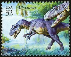 """Significant Allosaurus finds in Wyoming led to the reconstruction of """"Big Al"""" and """"Big Al Two"""". This stamp shows what they might have looked like in life. Copyright United States Postal Service. All rights reserved."""