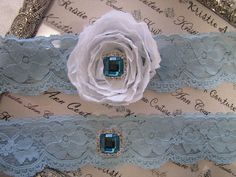 Bridal Blue Lace Garters with Chiffon Roses - Handmade Lace Bridal Garters with Vintage Flair