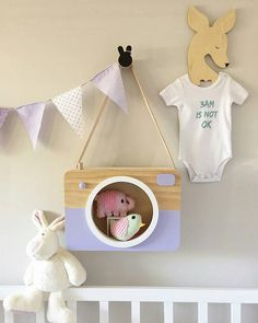 Pretty and pastel coloured, this wooden rectangular Camera shadow box is bound to add a delightfully chic touch to your kids' room décor. Australian made and designed from pinewood and MDF with a real leather strap for it to hang by, these shadow boxes are the perfect retro addition to a modern playroom.