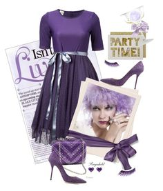 """Perfect Purple Party Dress"" by ragnh-mjos ❤ liked on Polyvore featuring Casadei, KAROLINA, Dasein, Effy Jewelry, Meri Meri, ACME Party Box Company and Urban Decay"