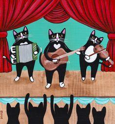 Alley Cat Band Original Cat Folk Art Animal by KilkennycatArt