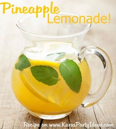 Pineapple Lemonade Punch: 2 cups Country Time Lemonade Mix, 1 (64oz) bottle Pineapple Juice (can be made from frozen pineapple juice concentrate), 3/4 of a 2 Liter bottle of Sprite (chilled), 2 cups Cold Water, Lemon Slices, Ice Mint Leaves (optional).