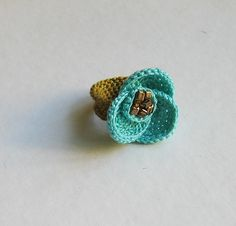 Crochet Turquoise Flower Ring - 72 Crochet Rings Free Pattern – Simple To Make Slip Stitch Crochet, Crochet Bows, Crochet Yarn, Crochet Flowers, Diy Flowers, Crochet Ring Patterns, Crochet Rings, Crochet Bracelet, Textile Jewelry