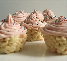 Baked from a Box: Cake Batter Rice Krispie Cupcakes  the cuppies that aren't. wow. this is an amazing invasion.