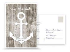 Save the Date Karte mit Anker, Holzoptik, weiß, Postkarte