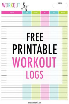 Free printable workout logs - Using a printable workout trackers is an easy way to stay organized and track your progress! Workout Log Printable, Workout Template, Printable Planner, Free Printables, Fitness Planner, Fitness Journal, Exercise Planner, Tracker Free, At Home Workouts