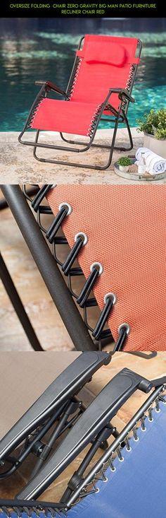 Oversize Folding Chair Zero Gravity Big Man Patio Furniture Recliner Chair  Red #tech #zero