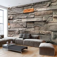 Wall mural wood optics wood wall non-woven wallpaper murals 3 colors