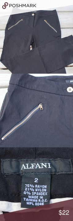 Alfani Edgy Dress Pants Size 2 in woman's.  Alfani brand black trousers.  75% ravon, 21% nylon, 4% spandex.  Made in Taiwan. Alfani Pants Trousers