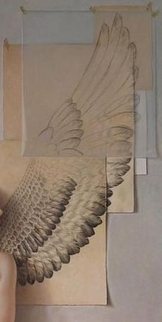 drawing - wings on a mix of papers