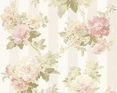 Vliesová tapeta Romantica 3, motiv květinový, krémovo-zeleno-růžová