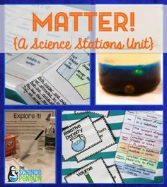 Properties of Matter Science Stations-- focuses on density, solubility, mass, physical state, and electrical conductivity 4th Grade Science, Middle School Science, Elementary Science, Science Classroom, Teaching Science, Science Education, Teaching Ideas, Classroom Ideas, Teaching Time