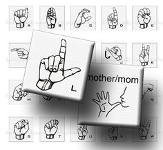 """ASL American Sign Language Alphabet - 1"""" squares for jewelry making & crafts"""