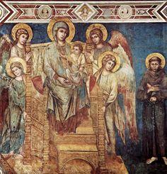 CENNI DI PEPO CIMABUE. Virgen con ángeles y San Francisco. Asís,  hacia 1280.