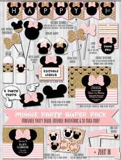 INSTANT DOWNLOAD, Gold Glitter & Blush Pink Minnie Mouse Party Decor, 1st Birthday, Minnie Party Pack, Baby Shower Invitations DIGITAL Files by LaBelleStudio on Etsy https://www.etsy.com/listing/204625592/instant-download-gold-glitter-blush-pink