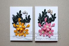 Simple Quilled Flower Arrangement in Pink and Yellow http://manuk.ro/en/ 'Quilling by Manuk'