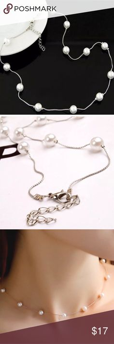 "White Pearl Silver Snake Necklace White Pearl Necklace. Chain length is 20"" with extender. Great necklace to mix and match with many different wardrobe styles. Jewelry Necklaces"