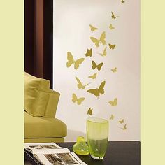 Butterfly Dance Wall Stencil. I can probably do this with my cricut! For the living room!