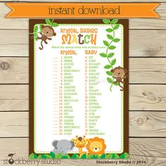 Safari Baby Shower Animal Match Game Printable - Instant Download - Neutral Baby Shower Games Printable - Jungle Baby Shower Activities