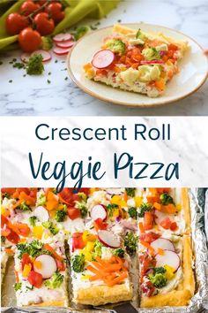 Veggie Pizza Recipe Easy, Vegetable Pizza Recipes, Vegetarian Recipes, Veggie Appetizers, Appetizer Recipes, Cresent Roll Veggie Pizza, Clean Recipes, Cooking Recipes, Crescent Roll Recipes