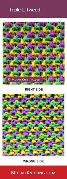 How to knit the Triple L Tweed stitch. Nice image about Slip stitch, mosaic knitting.