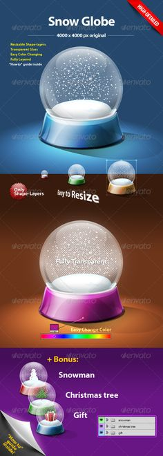 Buy Snow Globe by Grandiz on GraphicRiver. Christmas snow dome with transparent glassed dome. The PSD file is fully layered. All layers are vector based (shape-. Christmas Globes, Snow Globes, Xmas, Connect Logo, Globe Art, Stencil Templates, Christmas Templates, Paint Markers, Pencil Illustration