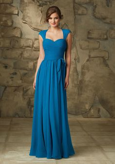 Beautiful Luxe Chiffon LongMori Lee Bridesmaid Dress with Removable Coverlet | Morilee