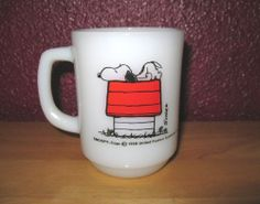 Fire King Snoopy Allergic To Mornings Mug vintage Milkglass Coffee Cup #FirekingFireKing  How I feel in the AM