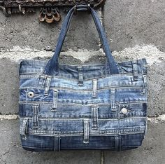 Denim tote bag handbag recycled distressed grunge rock by BukiBuki, $85.00