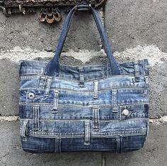 Denim handbag tote bag recycled distressed grunge rock por BukiBuki