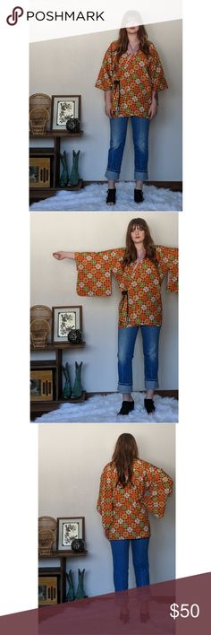 Kimono Top Handmade vintage kimono top! So comfortable and in perfect condition. Would fit multiple body types and sizes! I wear anywhere from ML/XL and I like the way it fits me vintage Tops