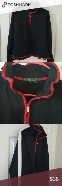 """Ralph Lauren activewear cotton-blend black zipper Ralph Lauren activewear zippered workout top solid black burgundy trim around zipper and bottom hem with white stripes down shoulders. Cotton polyester blend,smooth feel not like a knit... Reads XL.....See measurements  24"""" underarm to underarm when zippered 23 3/4"""" from top of shoulder to bottom edge hem Edge of top does not lay flat, kind of wavy...... Lauren Ralph Lauren Tops Sweatshirts & Hoodies"""