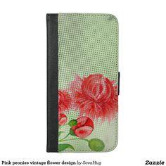 Pink peonies vintage flower design