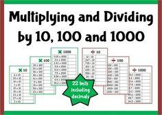 22 different tests for multiplying and dividing by 10, 100 and 1000.