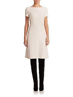 St. John Fringed Bouclé Knit Dress - Cream - Size 14