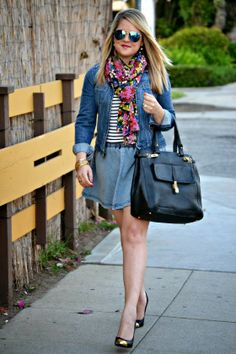 SoCal Style Guide: @Marshalls #fabfound stripe shirt pairs perfectly with a denim skater skirt & floral scarf!