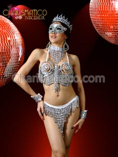 Silver Medieval Armor Sexy Showgirl Cage Bra And Thong - Charismatico Dancewear Store Carnival Outfits, Medieval Armor, Belly Dance Costumes, Showgirls, Dance Wear, Cage, Sexy, Bra, Bikinis