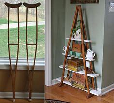 This is an old pair of wooden crutches that has easily been turned into a curio shelf!