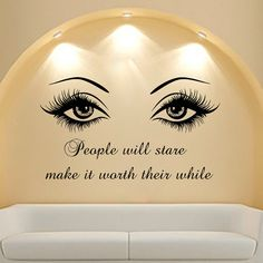 Wall Decal Quote Beauty Salon Make-Up Girl Woman Decals Vinyl Sticker Wall Decor Bedroom Window Art Mural ** Learn more by visiting the image link. (This is an affiliate link) Wall Decor Stickers, Vinyl Wall Decals, Sticker Vinyl, Wall Decal Quotes, Lash Room, Home Salon, Salon Art, Home Beauty Salon, Beauty Salons